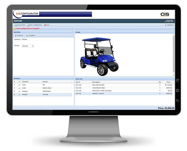 Golf cart configurator on a LED monitor